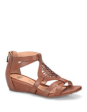 Breeze Brown Leather Wedge Sandals