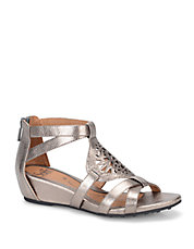 Breeze Metallic Leather Wedge Sandals