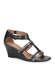 Pippa Black Leather Wedge Sandals