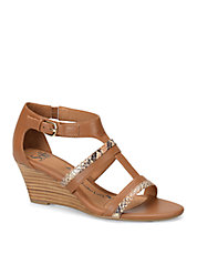 Pippa Brown Leather Wedge Sandals