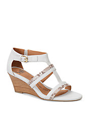 Pippa White Leather Wedge Sandals