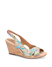 Cailean Floral-Print Leather Wedge Sandals