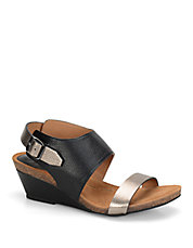 Vanita Black Leather Wedge Sandals