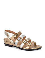 Sapphire Multi-Strap Metallic Leather Sandals