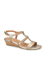 Ilissa Metallic Leather Wedge Sandals