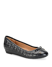 Shonda Quilted Leather Cap Toe Ballerina Flats