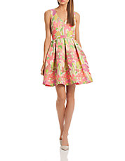 Floral Print Pleated Fit and Flare Dress