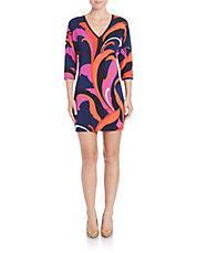 Feather-Print Sheath Dress