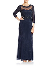 Three Quarter Sleeve Beaded Gown