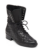 Joanie Quilted Chain-Trim Leather Mid-Calf Boots