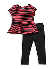 Girls 2-6x Two-Piece Textured Tunic And Leggings Set