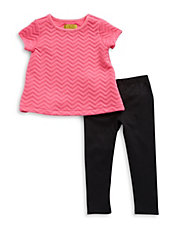Girls 2-6x Quilted Chevron Top and Leggings Set