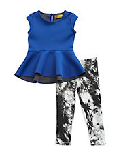 Girls 2-6x Two-Piece Scuba Dress And Leggings Set