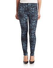 High-Waisted Floral Skinny Jeans