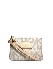 Jet Set Leather Logo Small Wristlet