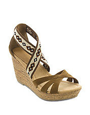 Drew Suede and Elastic Wedge Sandals