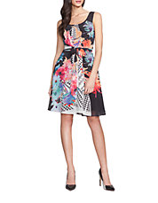 Geo and Floral Print A-Line Dress