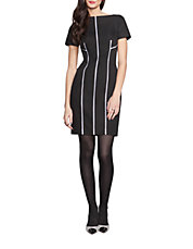 Contrast-Piped Sheath Dress