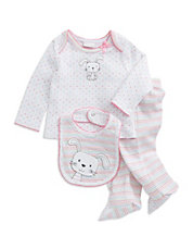 Three-Piece Mixed Pattern Bunny Set