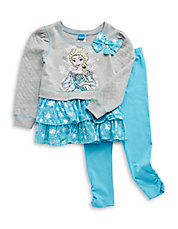 Girls 2-6x Two-Piece Quilted Frozen Dress And Pants Set