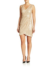 Sequined Faux Wrap Dress
