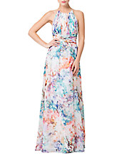 Chiffon Abstract Print Halter Gown