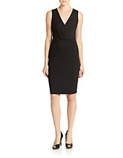 Ruched V-Neck Sheath Dress