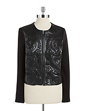 Faux Leather Laser Cut Jacket