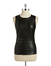 Embellished Leatherette Top