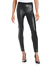 Faux Leather Contrast Leggings