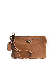Embossed Small L-Zip Wristlet in Leather