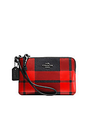 Mount Plaid Corner Zip Leather Wristlet