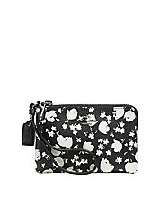 Floral Print Leather Wristlet