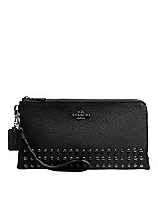 Leather Lacquer Rivets Double-Zip Wallet
