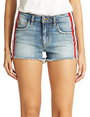 Lorina Striped Denim Shorts