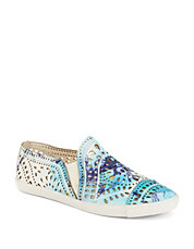 Tie Dye Leather Slip-Ons