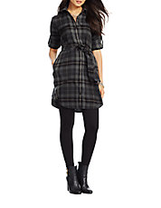 Belted Flannel Shirtdress