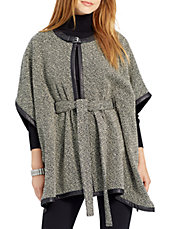Leather-Trimmed Tweed Poncho