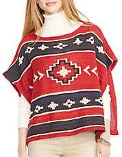 Geometric Linen-Cotton Poncho