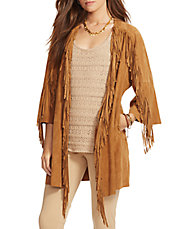 Fringed Suede Open-Front Jacket