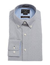 Fitted Micro-Print Dress Shirt