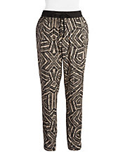 Plus Patterned Tapered Pants