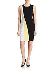 Colorblocked Zip Sheath Dress