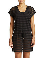 Striped Mesh Tunic Cover Up