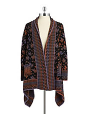 Patterned Asymmetrical Cardigan
