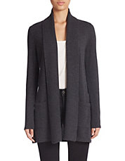 Mixed-Gauge Cashmere Cardigan