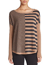 East-West Striped Cashmere Sweater