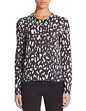 Cashmere Animal Print Cardigan