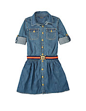 Girls 2-6x Point Collar Denim Dress