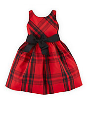 Girls 2-6x Sash-Accented Plaid Fit and Flare Dress